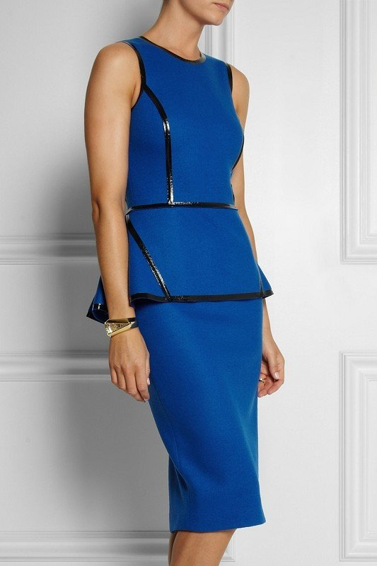 Royal Blue Leather Trim  Peplum  Dress for $1.78 at Posh Girl