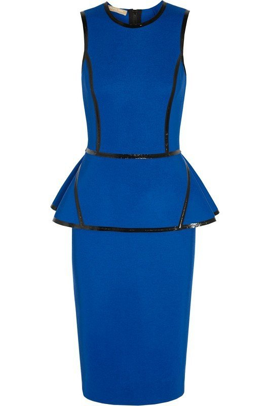 Brands - Posh Girl Royal Blue Peplum Dress With Leather Trim
