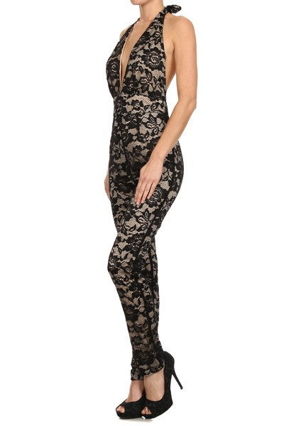 Lace Halter Open Back Skinny Leg Jumpsuit for $0.48 at Posh Girl