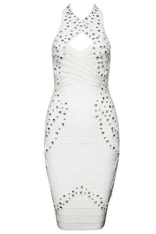 Brands,Sale,Collections,Dresses - Posh Girl White Diamonds Bandage Dress