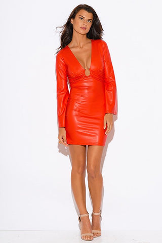 Brands,Sale,Dresses,Apparel,Collections - Posh Girl Vegan Leather Bell Sleeve Mini Dress