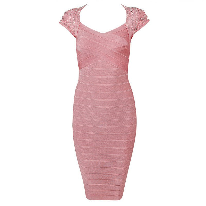 Posh Girl Pink Beaded Bandage Dress-POSH GIRL-Posh Girl