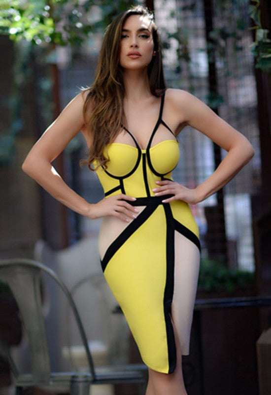 Color Block Asymmetrical Bandage Dress