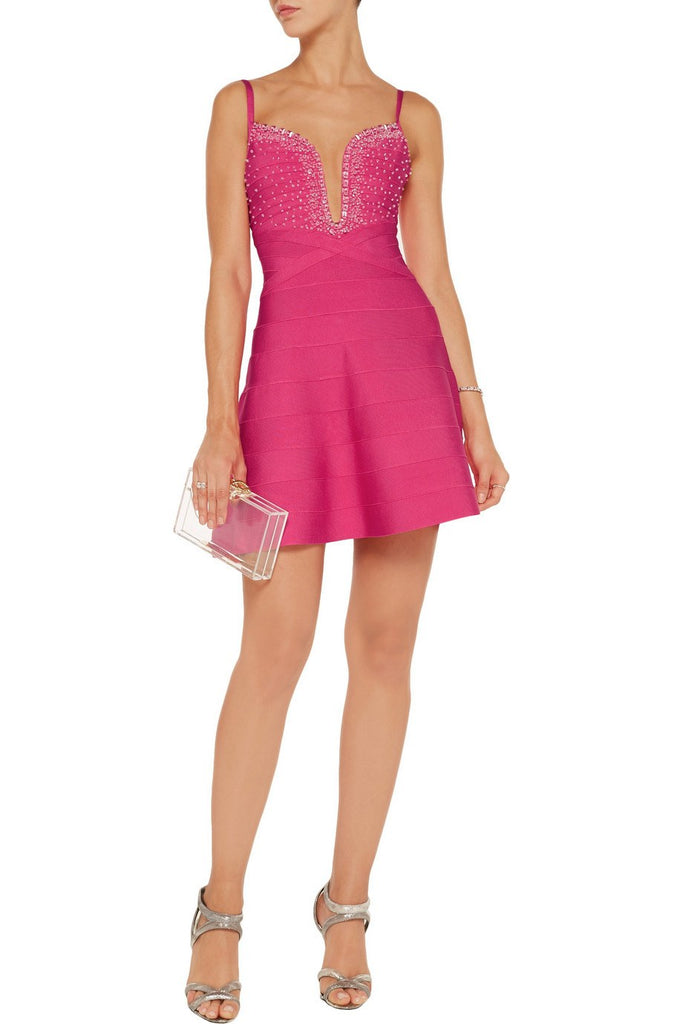 Brands,Sale,Dresses,Collections - Posh Girl Beaded V-Neck Bandage Mini Dress