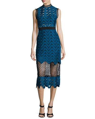 Scalloped Mixed-Lace Midi Dress-POSH GIRL-Posh Girl