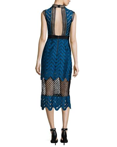 Scalloped Mixed-Lace Midi Dress for $1.88 at Posh Girl