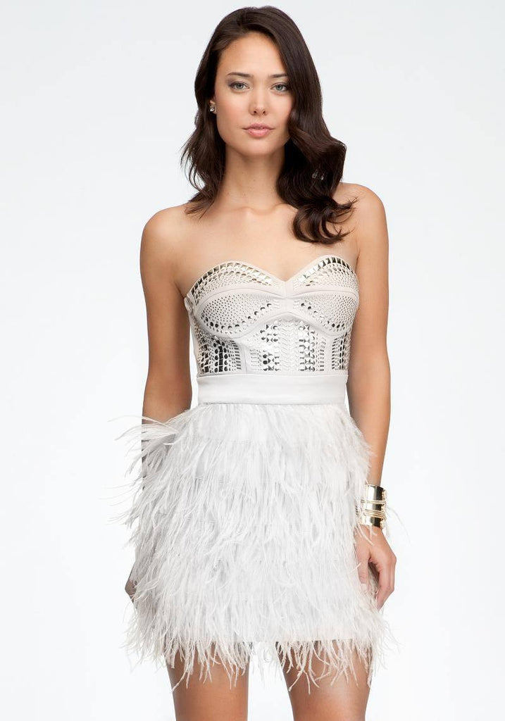 Beaded Strapless Feather Mini Dress-POSH GIRL-Posh Girl