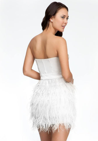 Brands,Sale,Dresses,Collections - Posh Girl Strapless Feathered Mini Dress