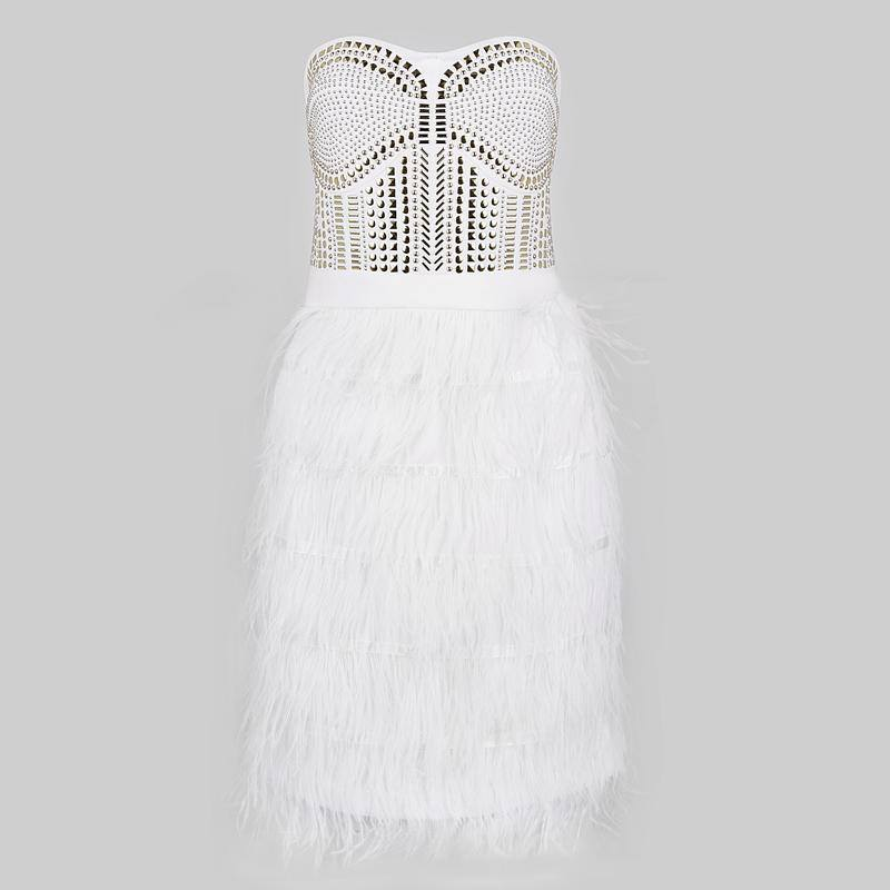 Beaded Strapless Feather Mini Dress for $1.38 at Posh Girl