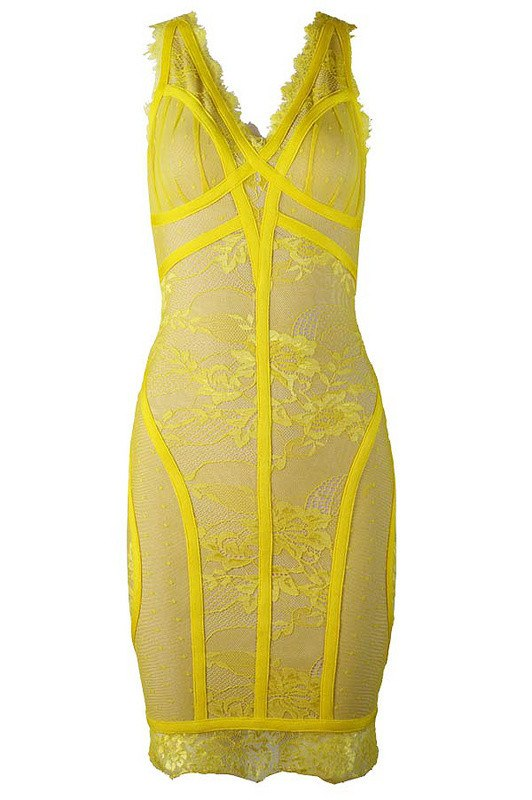 Brands,Sale,Dresses,Collections - Posh Girl Viviana Lace V-Neck Bandage Dress