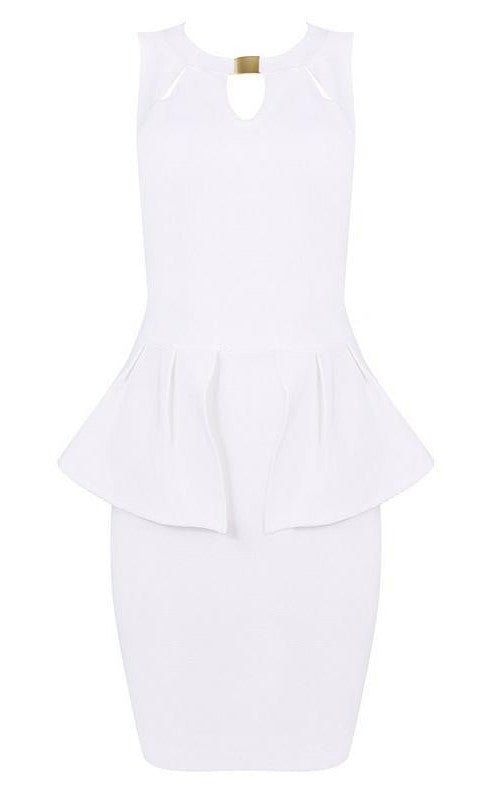 Brands,Sale,Dresses,Collections - Posh Girl White Bodycon Peplum Dress