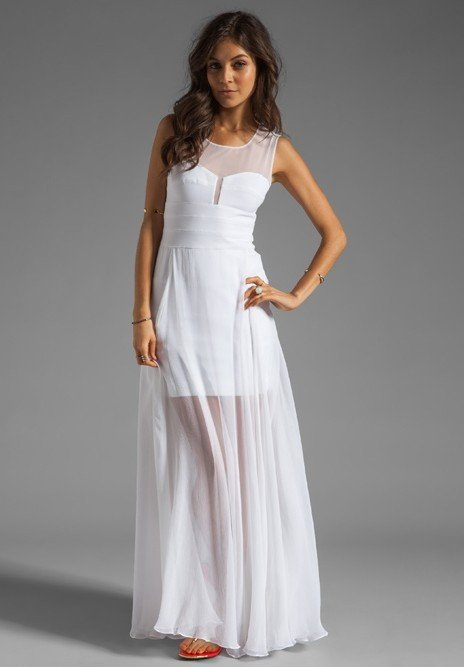 White Chiffon Bandage Maxi Dress-POSH GIRL-Posh Girl