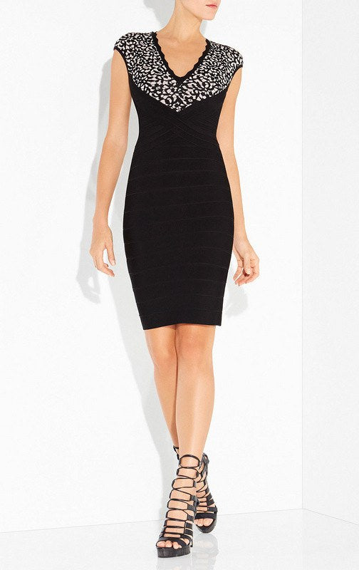 Corey Lace And Bandage Cocktail Dress-POSH GIRL-Posh Girl