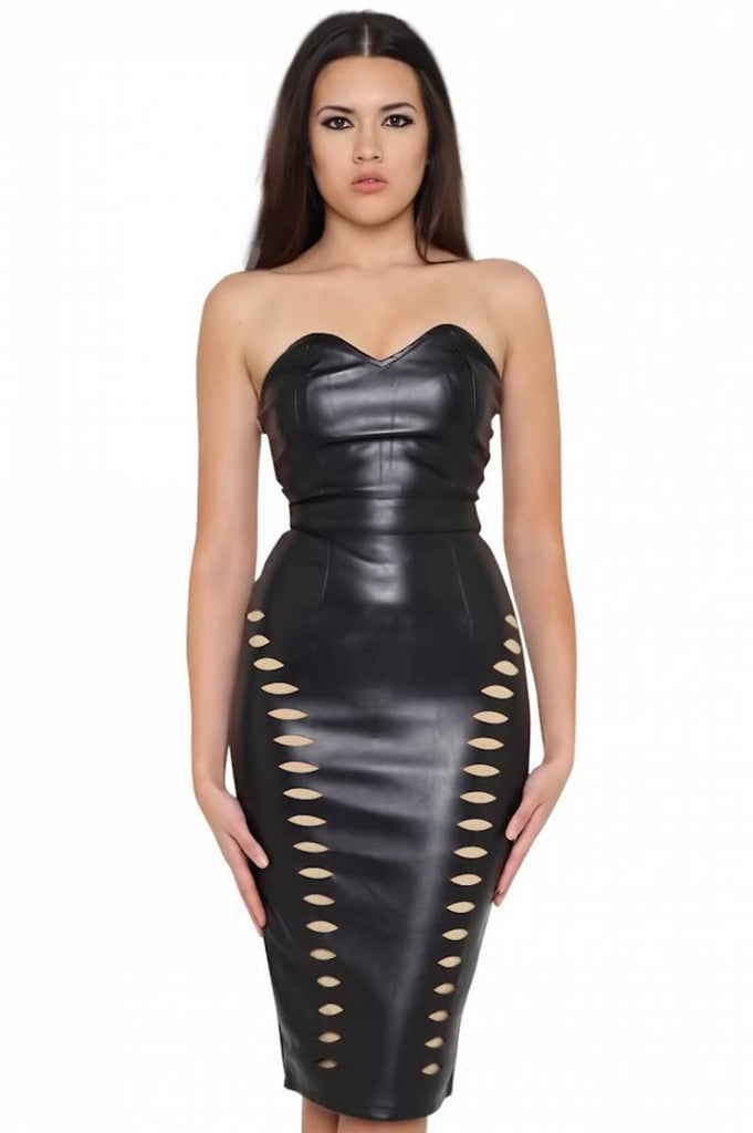 Dominique Black Vegan Leather Dress-POSH GIRL-Posh Girl