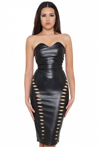 Brands,Sale,Dresses,New,Collections,Apparel - Posh Girl Dominique Black Vegan Leather Dress