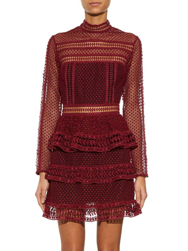 Felicia Burgundy lace mini Dress-POSH GIRL-Posh Girl