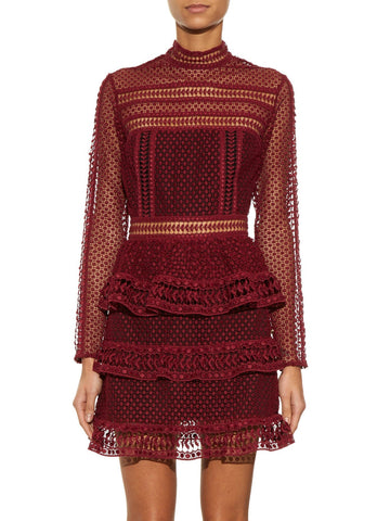 Brands,Sale,Dresses,New,Collections,Apparel - Posh Girl Felicia Burgundy Lace Mini Dress