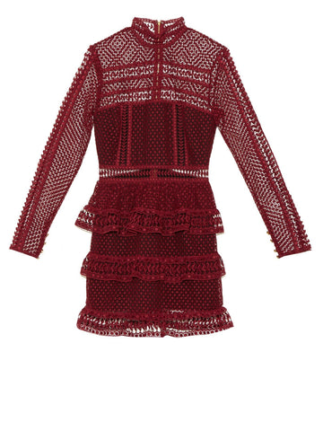 Felicia Burgundy lace mini Dress for $1.88 at Posh Girl