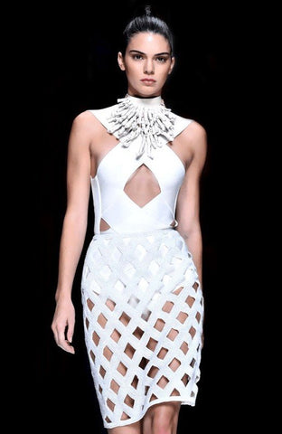 Brands,Sale,Dresses,New,Collections,Apparel - Posh Girl Gwen White Cutout Bandage Dress