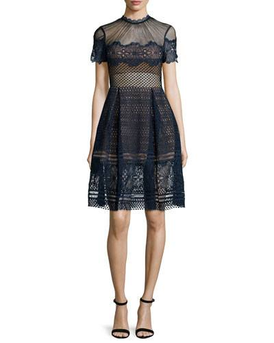 Brands,Sale,Dresses,New,Collections,Apparel - Posh Girl Navy Blue Embroidered Lace Dress