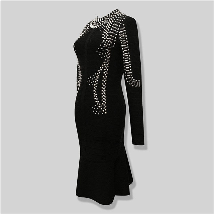 Brands,Sale,Dresses,New,Collections,Apparel - Posh Girl Rock On Studded Bandage Dress