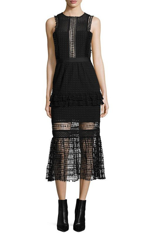 Brands,Sale,Dresses,New,Collections - Posh Girl Becca Black Lace Midi Dress