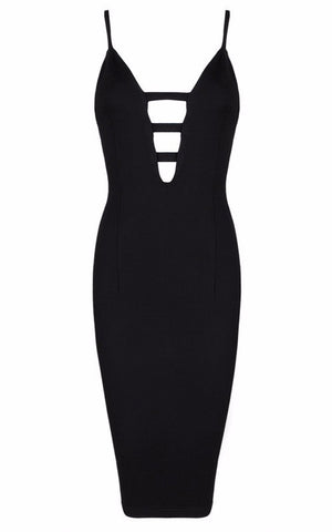 Brands,Sale,Dresses,New,Collections - Posh Girl Black Body-Con Cut-Out V-neck Dress