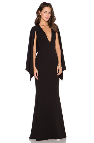 Brands,Sale,Dresses,New,Collections - Posh Girl Black Cape Maxi Dress