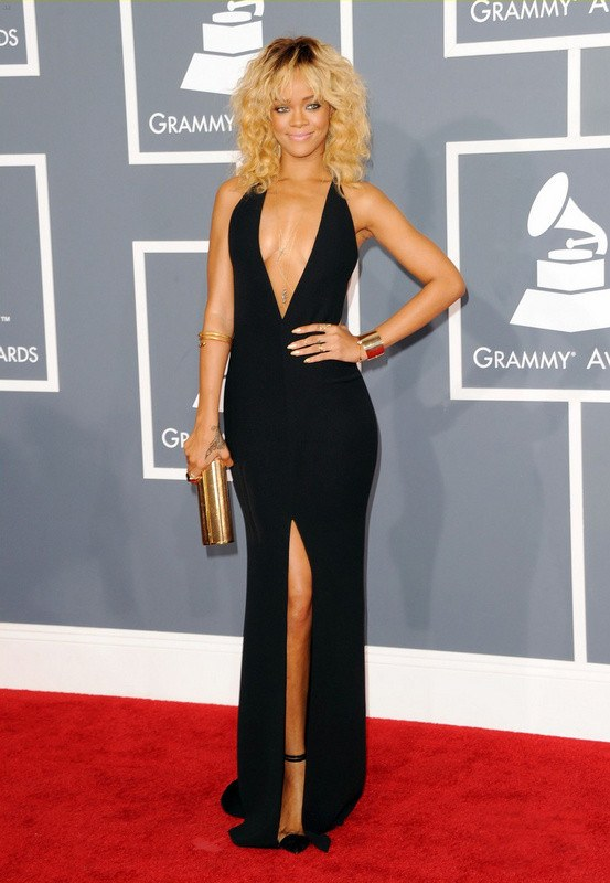 Rihanna Black Deep-V-Neck Open Back Gown-POSH GIRL-Posh Girl