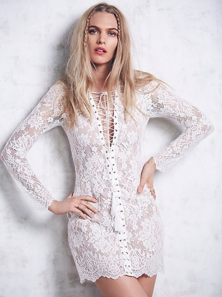 Brands,Sale,Dresses,New,Collections - Posh Girl Cory Lace Long Sleeve Mini Dress
