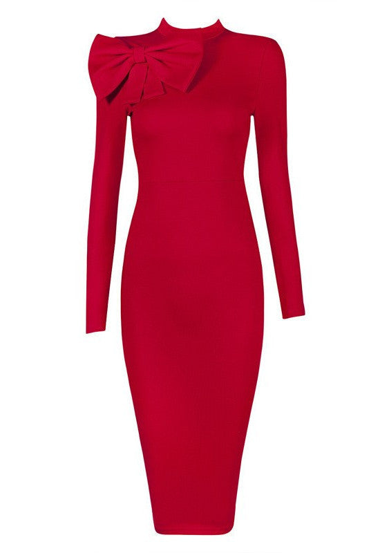 Dynasty Bow Bodycon Dress-POSH GIRL-Posh Girl