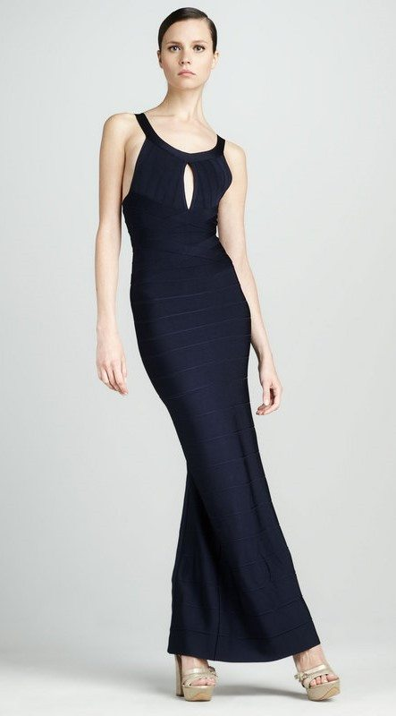 Brands,Sale,Dresses,New,Collections - Posh Girl Navy Blue A-Line Bandage Gown