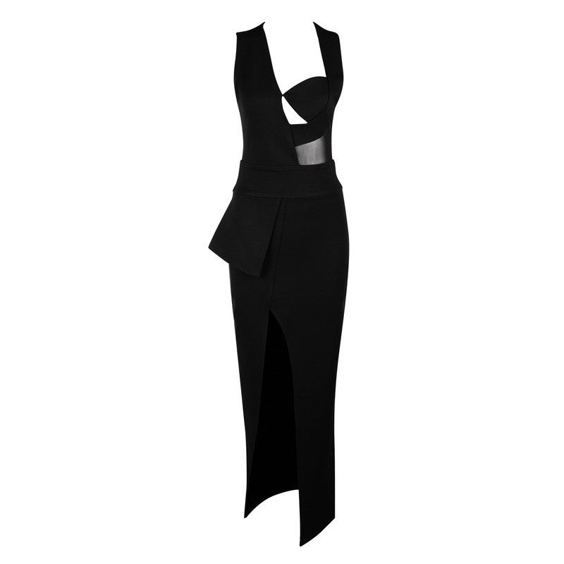 Brands,Sale,Dresses,New,Collections - Posh Girl Open Back Peplum Bandage Maxi Dress