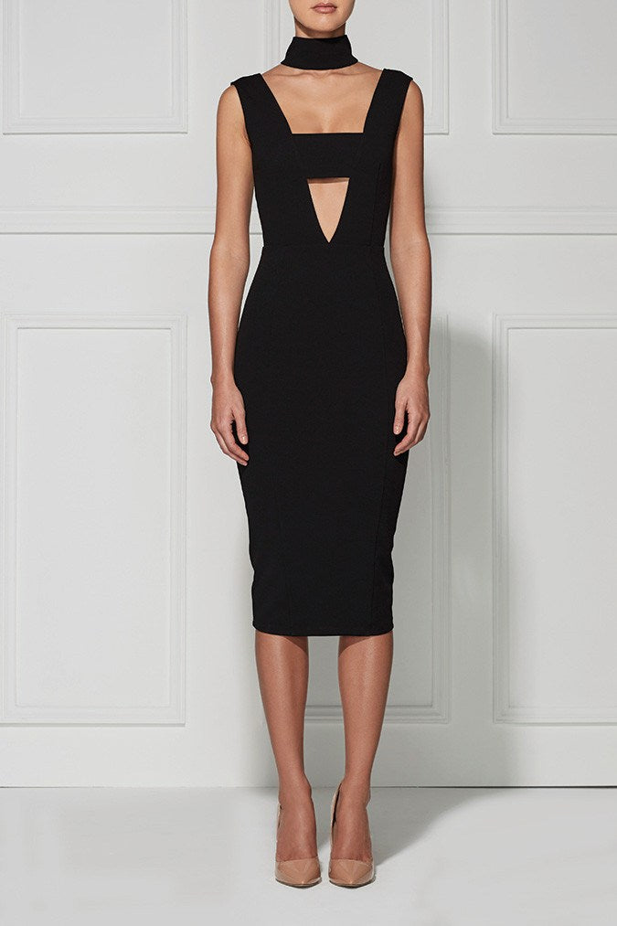 Sweet Charity  Black Cut-Out Bandage Dress-POSH GIRL-Posh Girl