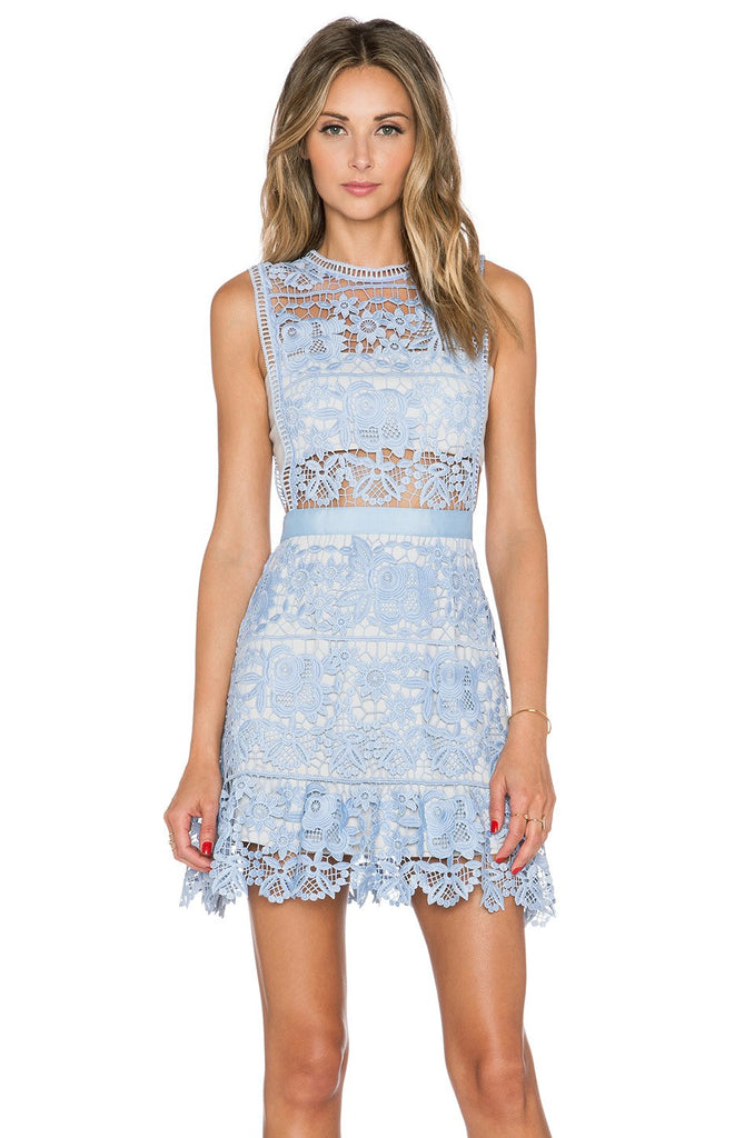 Val Blue Embroidered Lace Mini Dress-POSH GIRL-Posh Girl