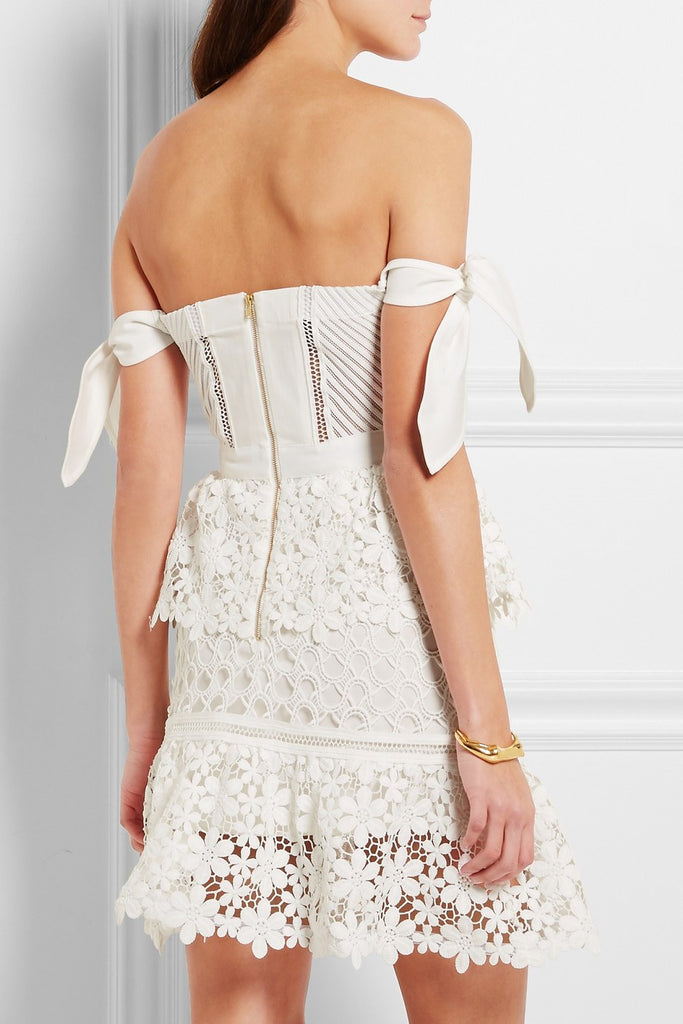 Brands,Sale,Dresses,New,Collections - Posh Girl White Corset Lace Tiered Mini Dress