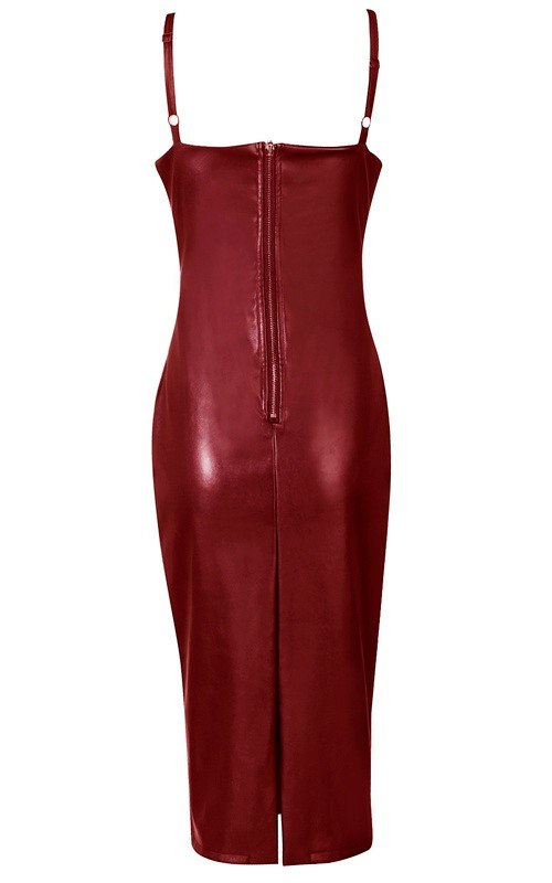 Brands,Sale,Dresses,New,Collections,Vegan Leather - Posh Girl Candy Coated Vegan Leather Slip Dress Burgandy