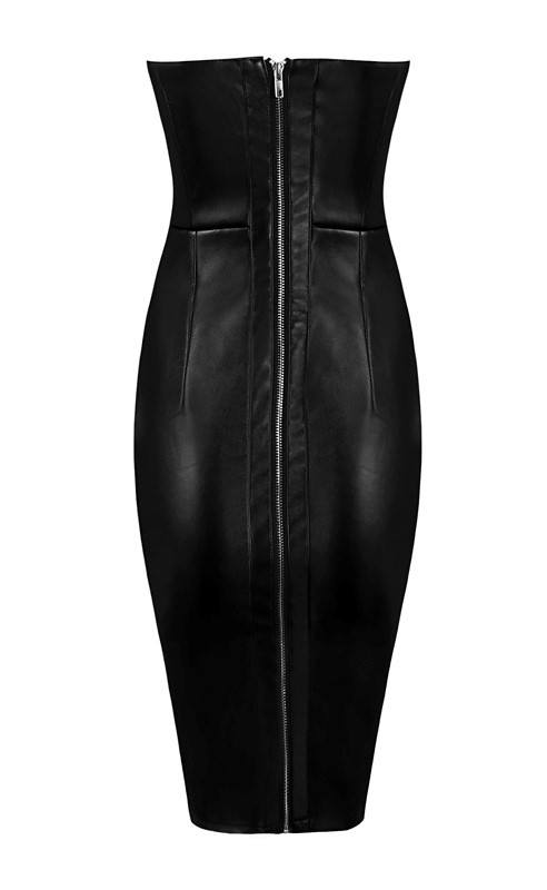 Brands,Sale,Dresses,New,Collections,Vegan Leather - Posh Girl Strapless Vegan Leather Dress