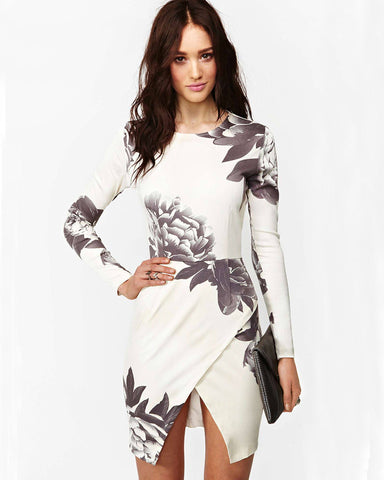 Brands,Sale,Dresses - Posh Girl Black And White Floral Print Dress
