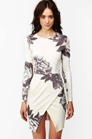 Black And White Floral Print Mini Dress for $0.28 at Posh Girl