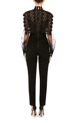 Brands,Sale,New,Collections,Apparel - Posh Girl Black Lace And Chiffon Jumpsuit