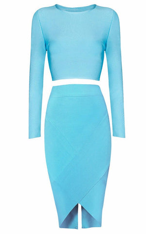 Brands,Sale,New,Collections,Apparel - Posh Girl Blue V-Back Bandage Skirt Set
