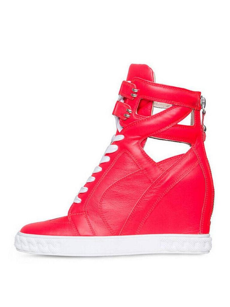 Bright Pink Leather wedge Sneakers-POSH GIRL-Posh Girl