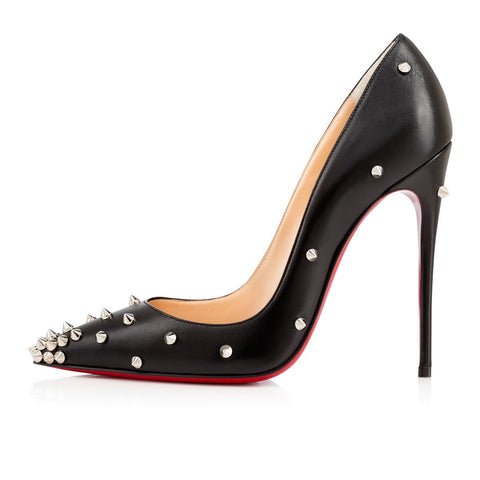 Brands,Shoes,Collections - Posh Girl Leather Spiked Red Bottom Stiletto Pumps
