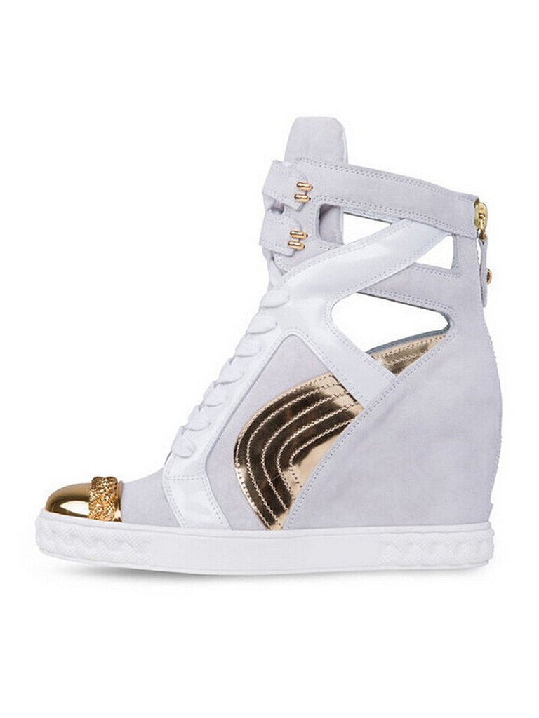 Brands,Shoes,Collections - Posh Girl White & Gold Leather Wedge Sneakers