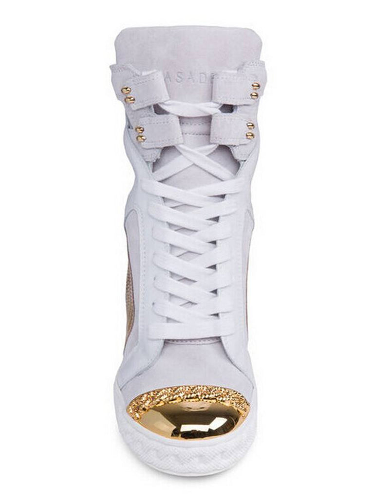 Posh Girl White & Gold Leather wedge Sneakers for $2.28 at Posh Girl