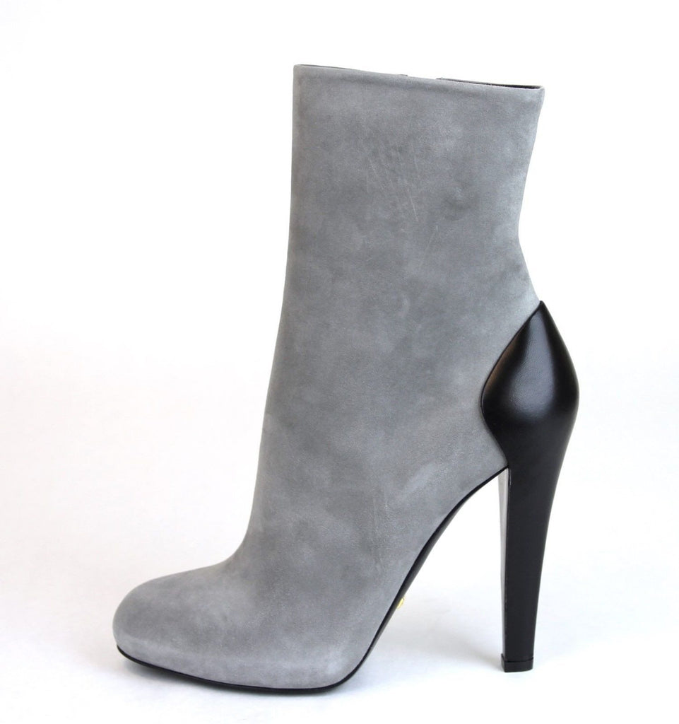 GUCCI Suede/Leather Ankle Boot, Grey-GUCCI-Posh Girl