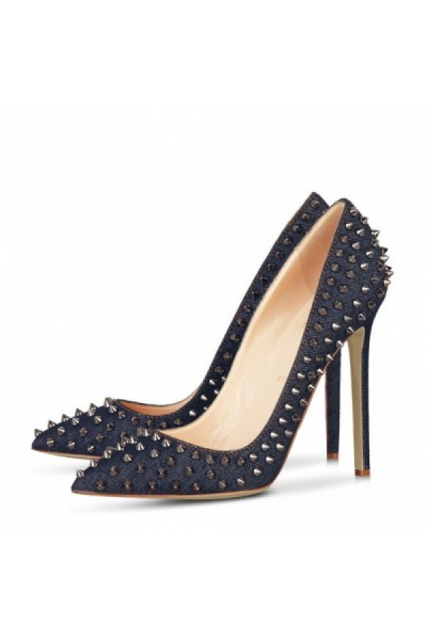 Brands,Shoes,New,Collections - Posh Girl Bebe Blue Denim Studded Pumps