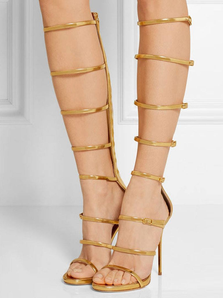 Brands,Shoes,New,Collections - Posh Girl Gold Stiletto Gladiator Sandals