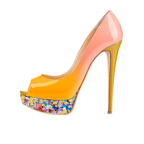Brands,Shoes,New,Custom Made, - Posh Girl Christina Orange Platform Pumps